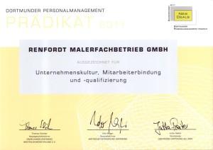 Urkunde Personalprädikat renfordt Malerfachbetrieb GmbH