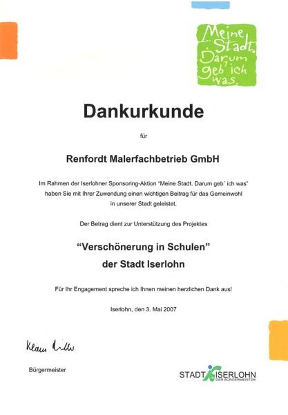 Dankurkunde der Stadt Iserlohn für renfordt Malerfachbetrieb