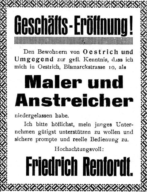 Geschichte Eröffnungsanzeige 1927