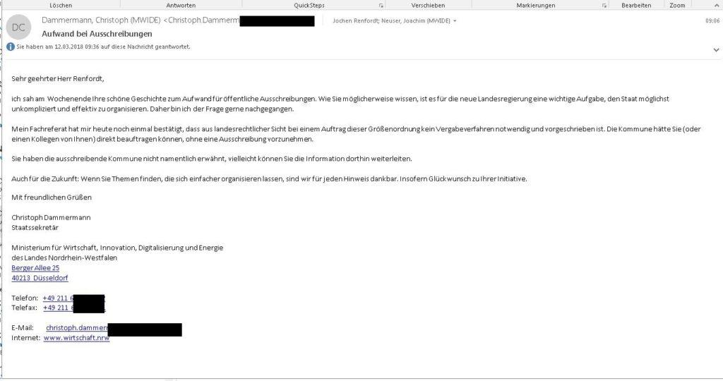 Das Wirtschaftsministerium schreibt mir…!